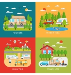 Motorhome concept icons set vector