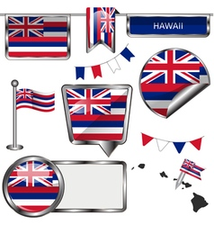 Glossy icons with hawaiian flag vector