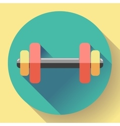 Color dumbbell icon with long shadow symbol of vector