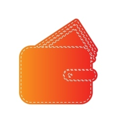 Wallet sign  orange applique isolated vector