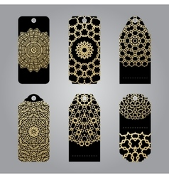Rich gold gift tags in the arabic style vector