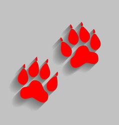 Animal tracks sign red icon with soft vector