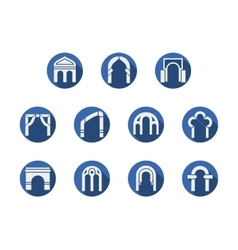 Arched gateways round blue icons set vector
