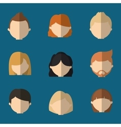 assorted faceless people heads icon image vector image