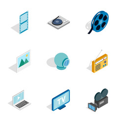 audio and video icons isometric 3d style vector image