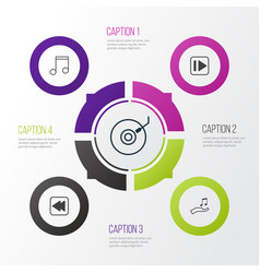 Audio icons set collection of rewind back note vector