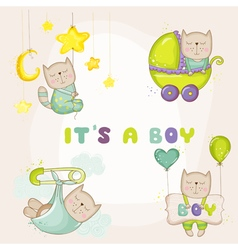Baby cat set - for baby shower cards vector