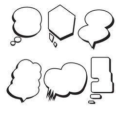 Blank template comic text speech bubble set vector