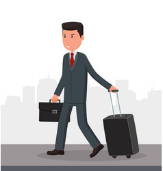 Businessman with luggage goes to the airport vector