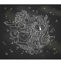 Chalk I Love You doodles on blackboard background vector image