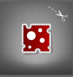 Cheese slice sign red icon with for vector
