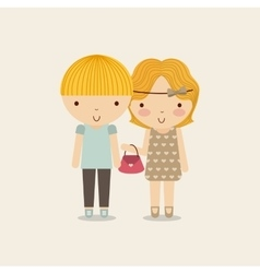 Couple of girl and boy icon Kid and cute people vector image