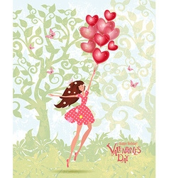 Cute girl with valentines balloons vector image vector image