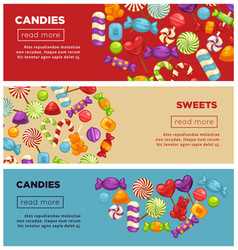 delicious candies and sweets promotional internet vector image vector image