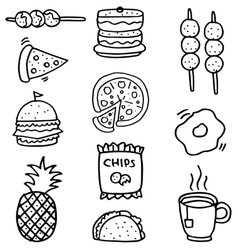 Doodle of food set element stock vector image