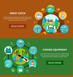 Fishing equipment horizontal banners vector