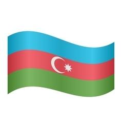 Flag of Azerbaijan waving on white background vector image