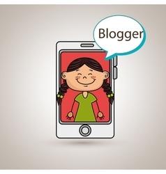 Girl cellphone blogger web vector
