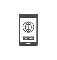 Globe on smartphone screen icon vector