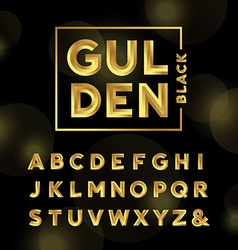 Golden font alphabet with gold effect letters vector