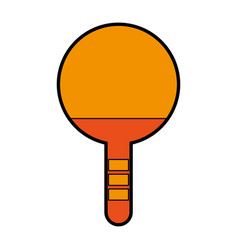 Orange ping pong racket vector