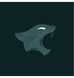 Panther with open mouth fangs in vector