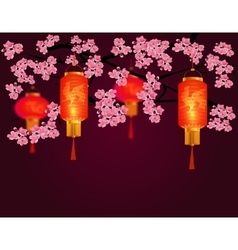 Red chinese lanterns in a park cylindrical and vector