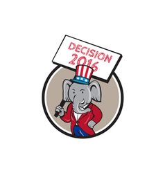 Republican elephant mascot decision 2016 circle vector