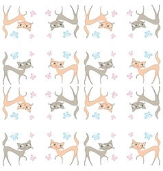 Seamless pattern of two different colored cats go vector