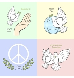 Set symbols with a white dove vector image