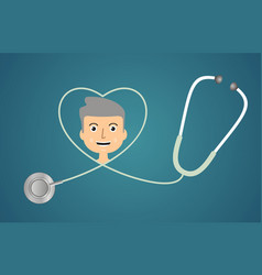 stethoscope in shape of heart vector image vector image