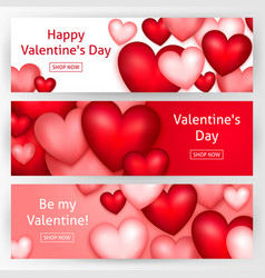 valentines day horizontal banners vector image vector image