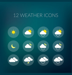 Weather colorful icons set vector