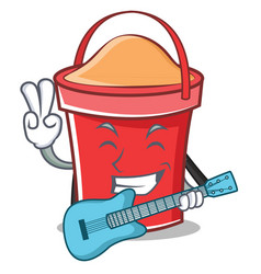 with guitar bucket character cartoon style vector image vector image