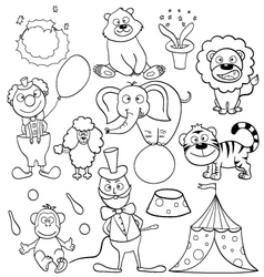 Coloring book with circus icons vector