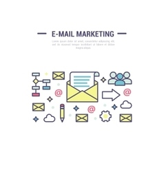 E-mail marketing signs template in outline vector