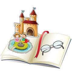 A book with a castle and a reading glasses vector