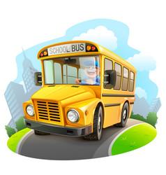 Funny school bus vector