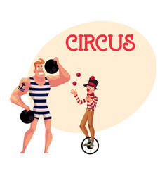Circus performers - strong man and clown juggling vector