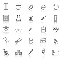 Pharmacy line icons with reflect on white vector