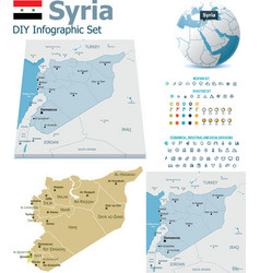 Syria maps with markers vector image