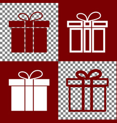 Gift box sign  bordo and white icons and vector