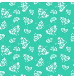 Pattern with white butterflies of random size vector
