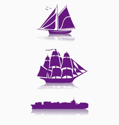 Sail and cargo ships vector
