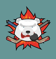Bear hockey logo vector