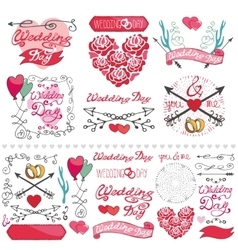 Wedding decor elements setlabelscardinvitation vector