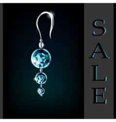 earrings with diamonds and aquamarine sale vector image