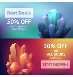 Crystal mineral banners vector
