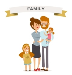 Small girl woman and man happy family couple vector