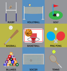 Ball game icon basketball soccer golf and volley vector